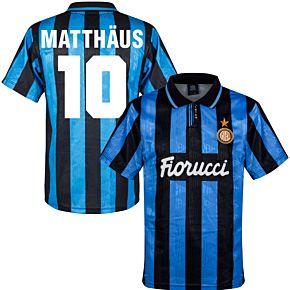 91-92 Inter Milan Home Retro Shirt + Matthäus 10 (Retro Flock Printing)