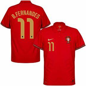 20-21 Portugal Vapor Match Home Shirt + B.Fernandes 11 (Official Printing)