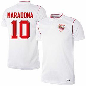 92-93 Sevilla Home Retro Shirt + Maradona 10 (Retro Flock Printing)