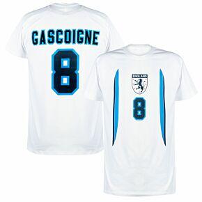 England Euro 96 Home Gascoigne 8 KIDS T-shirt - White