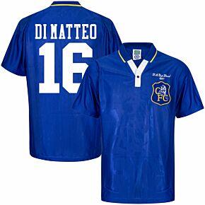 1997 Chelsea Home Retro FA Cup Final Shirt + Di Matteo 16 (Retro Flock Printing)