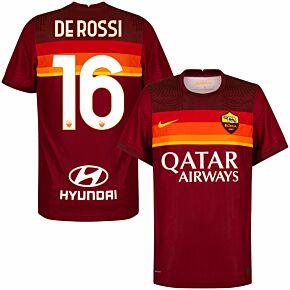 20-21 AS Roma Vapor Match Home Shirt + De Rossi 16 (Official Printing)