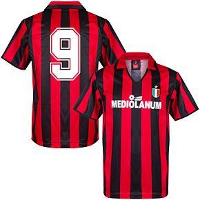 1988 AC Milan Home Retro Shirt + No.9 (Retro Flock Printing)