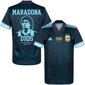 20-21 Argentina Away Shirt + Maradona D10S Stencil Print + Transfer