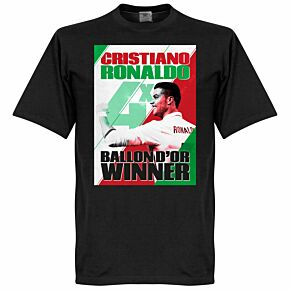 Ronaldo 4 Times Ballon d'Or Portugal WInners Tee - Black