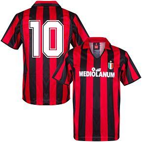1988 AC Milan Home Retro Shirt + No.10 (Retro Flock Printing)