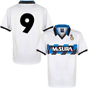 1990 Inter Milan Away Retro Shirt + No.9 (Retro Flock Printing)
