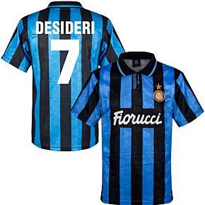 91-92 Inter Milan Home Retro Shirt + Desideri 7 (Retro Flock Printing)