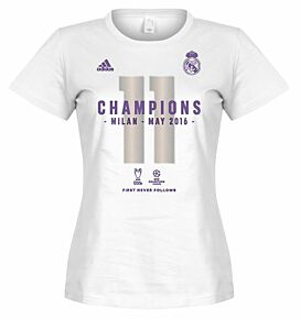 adidas Real Madrid Official 2016 Champions League Winners Womens Tee - White