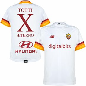 21-22 AS Roma Away Shirt + Totti Aeterno X (Fan Style Printing)