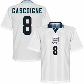 1996 England Euro 96 Home Retro Shirt + Gascoigne 8 (Retro Flex Printing)