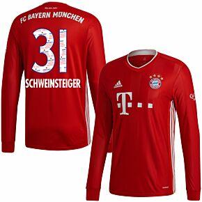 20-21 Bayern Munich Home L/S Shirt + Schweinsteiger 31 (Danke Bastian Printing)