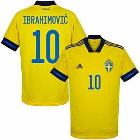 20-21 Sweden Home Shirt + Ibrahimovic 10