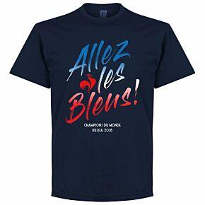 France Allez les Bleus Russia 2018 Winners Tee - Navy