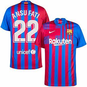 21-22 Barcelona Home Shirt + Ansu Fati 22 (Official Printing)