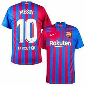 21-22 Barcelona Home Shirt + Messi 10 (Official Printing)