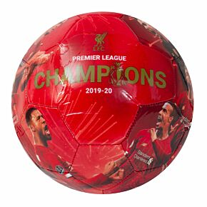 Liverpool Premier League Champions 19-20 Photo Football - Red (Size 5)