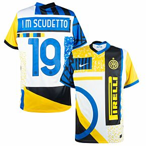 Inter Milan 4th Shirt + I M Scudetto 19 2020-2021 (Official Signature Printing)