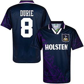 1994 Tottenham Away Retro Shirt + Durie 8 (Retro Flock Printing)