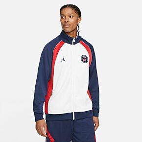 21-22 PSG x Jordan Suit Anthem Jacket - White/Navy