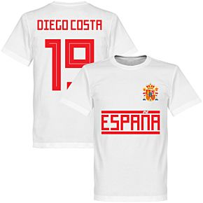 Spain Diego Costa 19 Team Tee - White