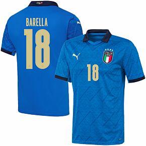 20-21 Italy Home Shirt + Barella 18 (Official Printing)