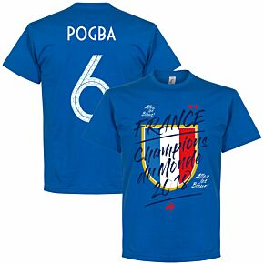 France Champion du Monde Pogba 6 Tee - Royal
