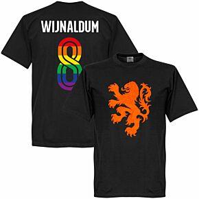 Holland Team Pride Wijnaldum 8 T-shirt - Black