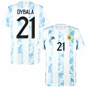 2021 Argentina Home Shirt + Dybala 21 (Official Printing)