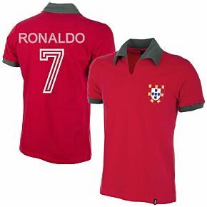 1972 Portugal Home Retro Shirt + Ronaldo 9 (Aztec Flock Printing)