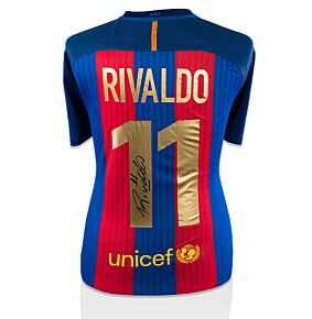 Rivaldo Back -Signed Barcelona Home Jersey 2016 / 2017 (Gold Fan Style Printing)
