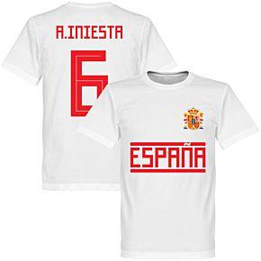 Spain Iniesta 6 Team Tee - White