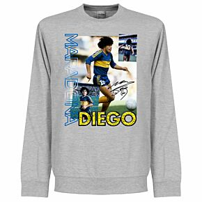 Diego Maradona Old Skool KIDS Sweatshirt - Grey Heather