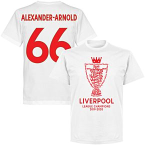 Liverpool 2020 League Champions Trophy Alexander-Arnold 66 KIDS T-shirt - White