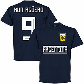 Argentina Kun Agüero 9 Team Tee - Navy