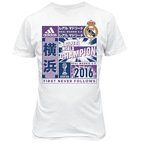 adidas Real Madrid CWC 2016 Official Winners Tee - White - Boys