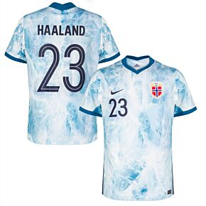 20-21 Norway Away Shirt + Haaland 23 (Fan Style Printing)