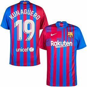 21-22 Barcelona Home Shirt + Kun Agüero 19 (Official Printing)