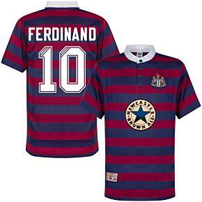 1996 Newcastle Away Shirt + Ferdinand 10 (Retro Flock Printing)