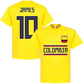 Colombia James 10 Team T-Shirt - Yellow