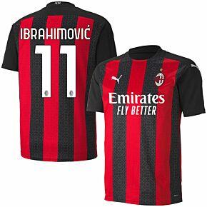 20-21 AC Milan Home Shirt + Ibrahimovic 11 (Official Printing)