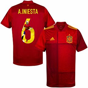 20-21 Spain Home Shirt + A. Iniesta 6 (Gallery Style)