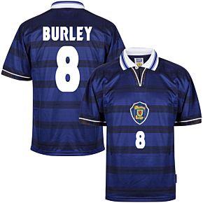 1998 Scotland Home World Cup Finals Retro shirt + Burley 8 (Retro Flock Printing)