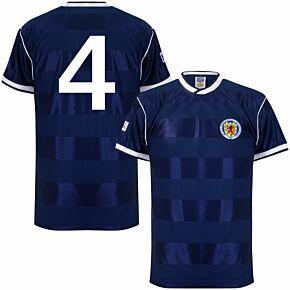 1986 Scotland Home Retro Shirt + No. 4 (Retro Flock Printing)