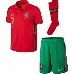 20-21 Portugal Home Little Boys Kit + Ronaldo 7 (Fan Style Printing)