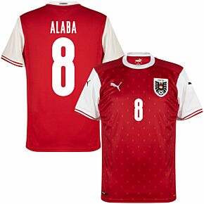 20-21 Austria Home Shirt + Alaba 8 (Fan Style Printing)