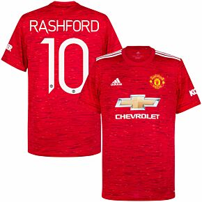 20-21 Man Utd Home Shirt + Rashford 10 (Official Cup Printing)