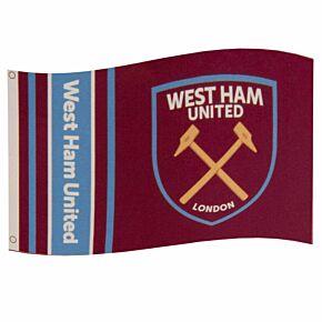 West Ham Wordmark Stripe Flag -(152 x 91cm)