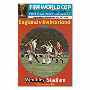 England vs Switzerland - World Cup Qualifier at Wembley Stadium Program - 11/19/80