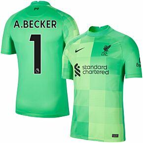 21-22 Liverpool Home GK Shirt + A. Becker 1 (Premier League)